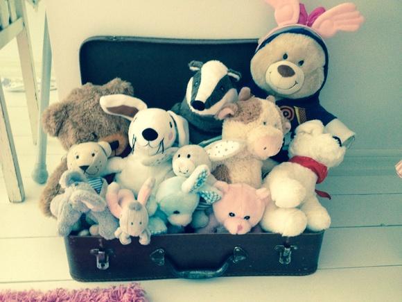 retro,resväska,förvaring,gosedjur,leksaker