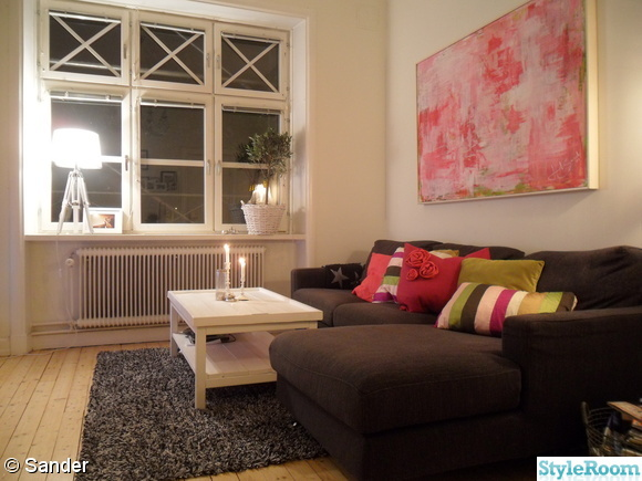 vardagsrum,fönster,soffa,kuddar,tavla