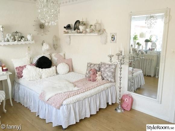 säng,shabby chic,lantligt,rosa,sovrum