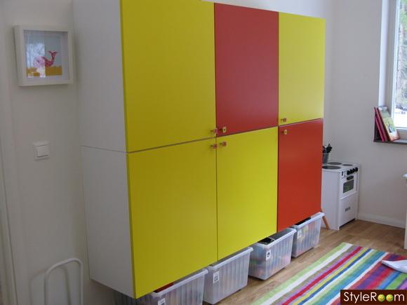 lekrum,förvaring,väggskåp,gul,orange