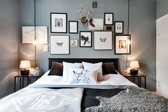 Sovrum med fotovägg