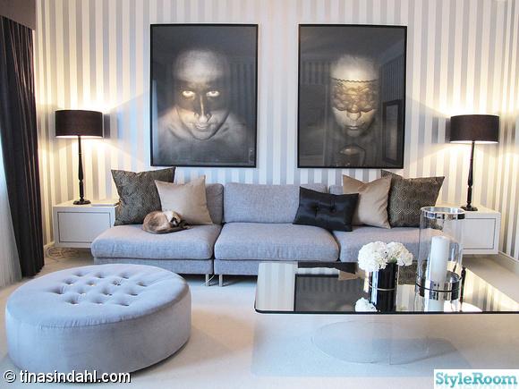 spegel,soffbord,soffa,grå,randig