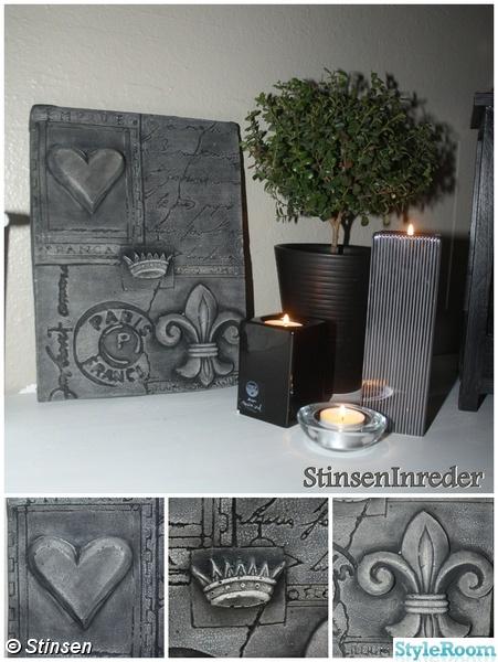 tavla,betong,fransk lantstil,fransk lilja,hjärta