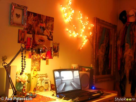 skrivbord,dekoration,väggdekoration,ljusslinga,ljus