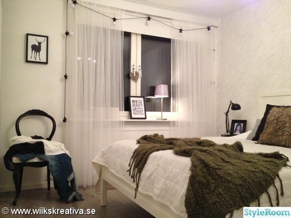sovum,säng,ljusslinga,filt,pläd