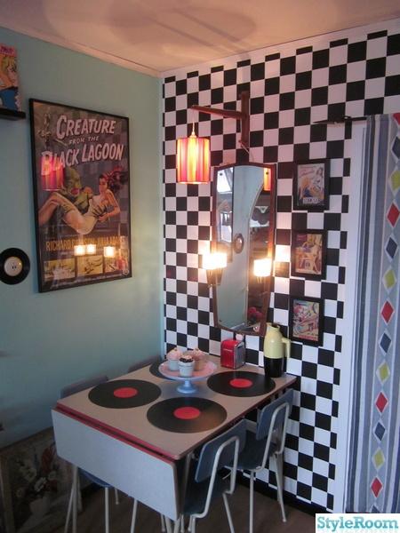 50-tal,retro,nostalgi,schackrutigt,cafébord