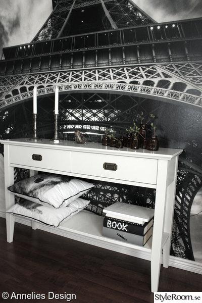 fototapet,eiffeltornet,avlasningsbord,em möbler,renovering liten hall