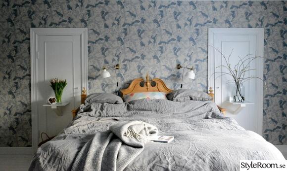 säng,sovrum,tapet,lantligt,sänggavel