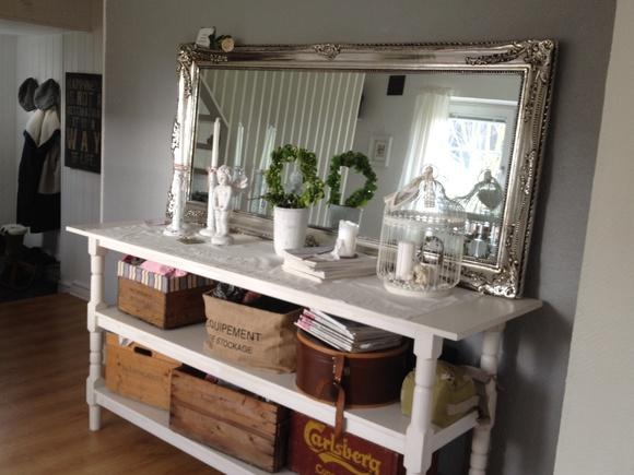 skänk vit,skänk,spegel,silverspegel,trälådor