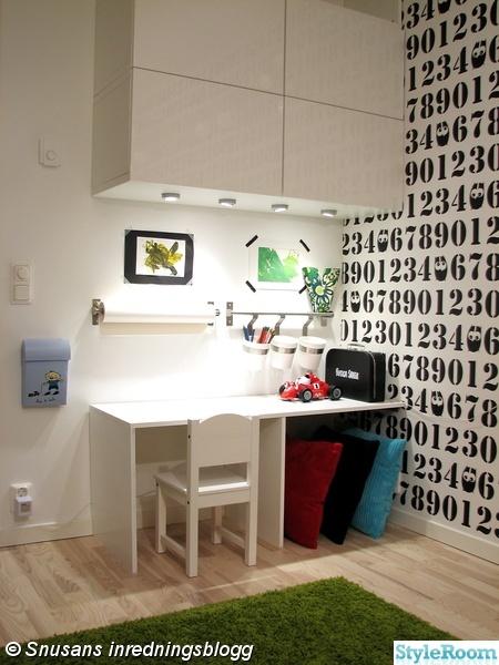 arbetshörna,barnrum,skrivbord,platsbyggt,förvaring