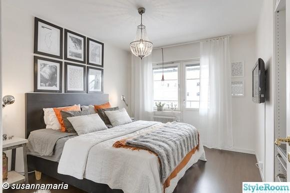 sovrum,tavelvägg,fotovägg,överkast,orange