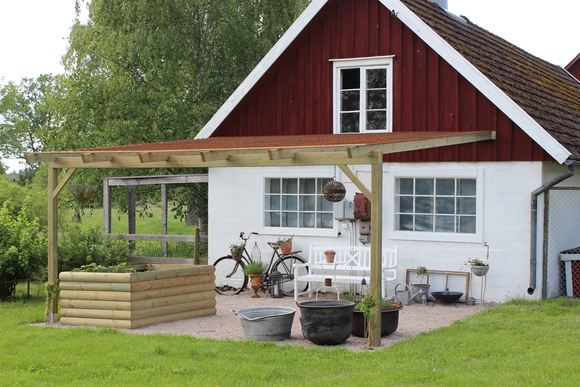 trädgård,husfasad,plantering