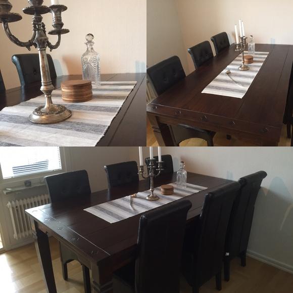 matbord,indiskt bord,skinn,matplats,skinnstolar
