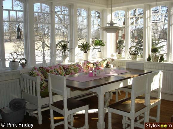 lantstil,matdel,rosa,grönt,matbord