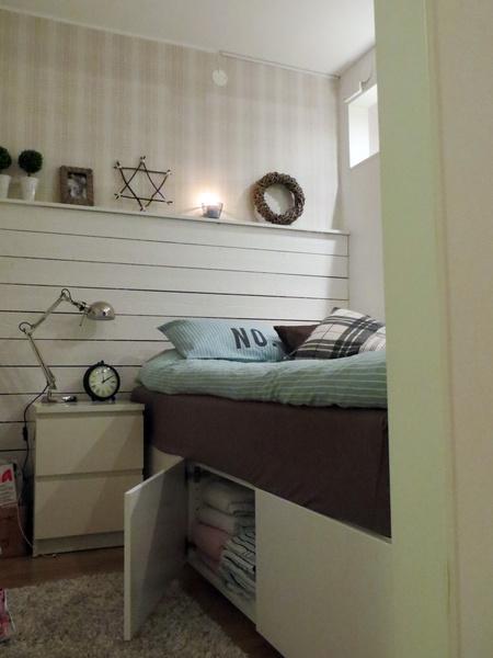 Litet sovrum med säng