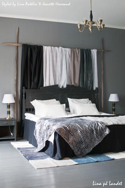 säng,sänggavel,svart,grått,ombonat