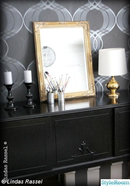 skänk,svart,guld,fondvägg,spegel