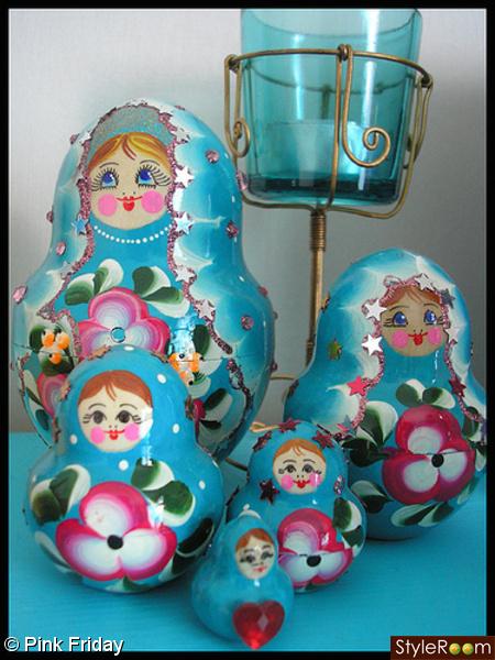 babuschka,blått,turkost,Matrjosjka,матрёшка