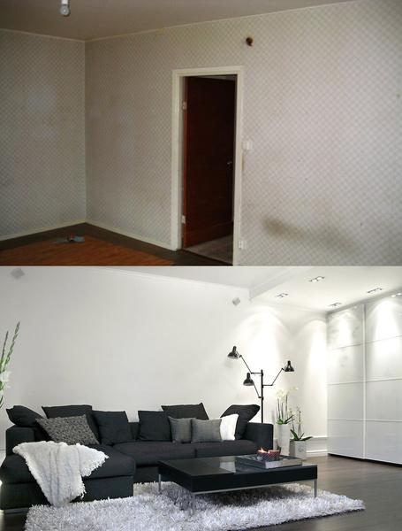 vardagsrum,före & efter