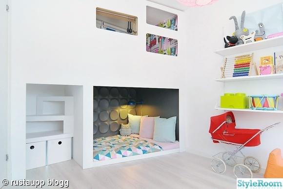 Barnrum med praktisk förvaring byggt i mdf