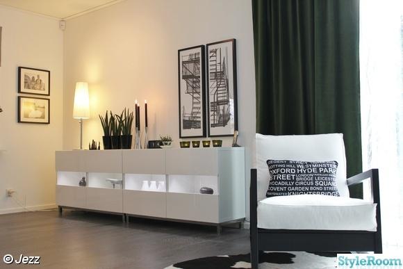 vardagsrum vitt sideboard. Black Bedroom Furniture Sets. Home Design Ideas