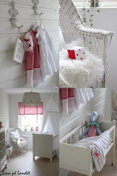 docksäng,spjälsäng,rött och vitt,panelvägg,lantligt