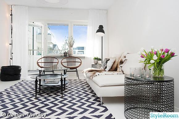 Vardagsrum med matta Leheriya från Anna O