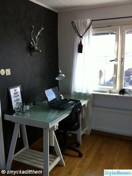 skrivbord,vardagsrum,skrivbordshörna,hjorthuve,skrivbordslampa