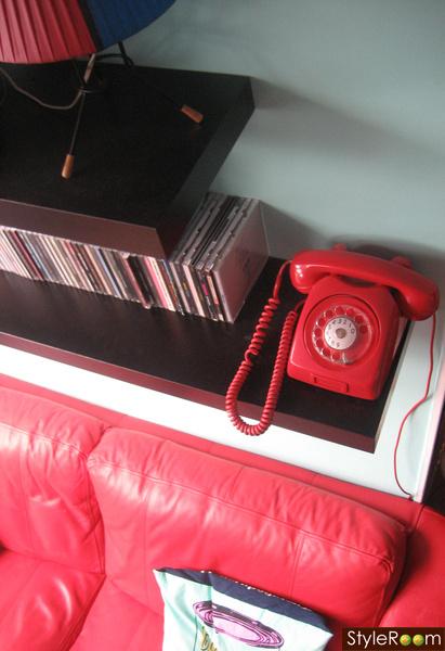 retro,rött,seafoam green,skivor,telefon