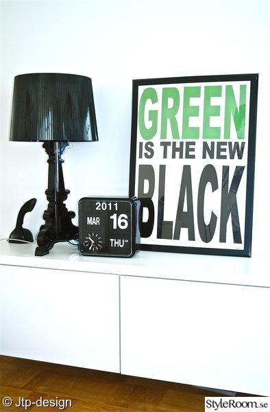kartell,lampa,tv-bänk,vitt,svart