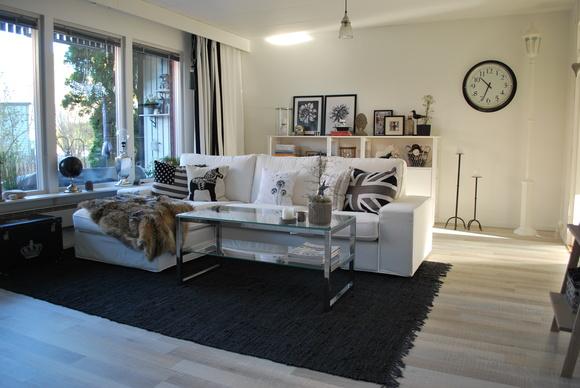 vargpäls,lädermatta,glasbord,soffa med schäslong,kornisch