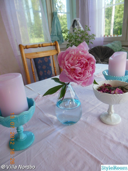 pion,rosa,skål på fot,opalinglas,turkos