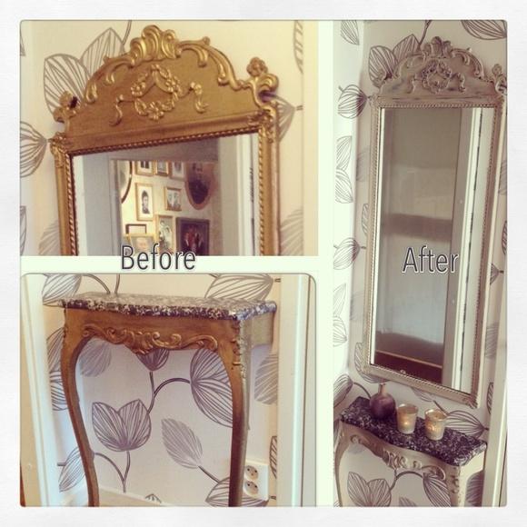 spegel,hallmöbel,hallmöbler,målade möbler,chalkpaint
