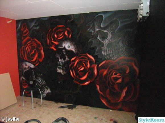 tonårsrum,svart,rött,väggmålning,dödskallar