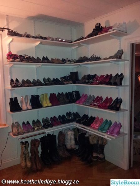 skor,skohylla,skohyllor,skoförvaring,väggskenor
