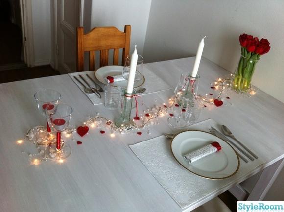 dukning,romantisk,alla hjärtans dag,pyssel