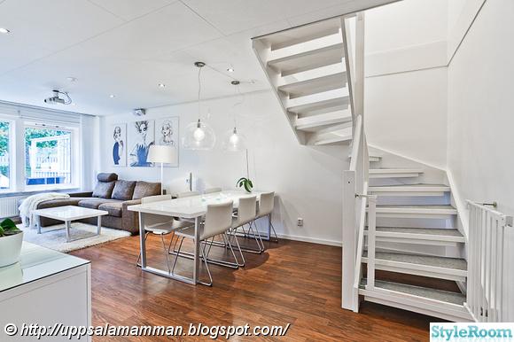 vardagsrum,matplats,vitmålad trappa,trappa