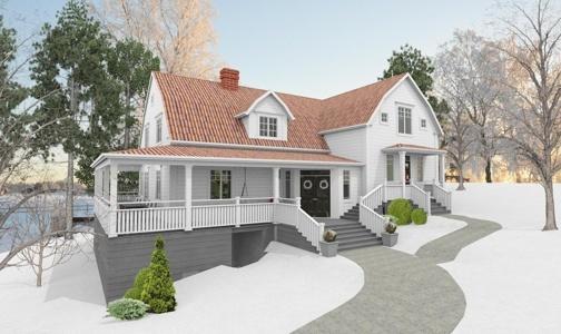 fasad,new england,utbyggnad,vitt hus,hälsingland