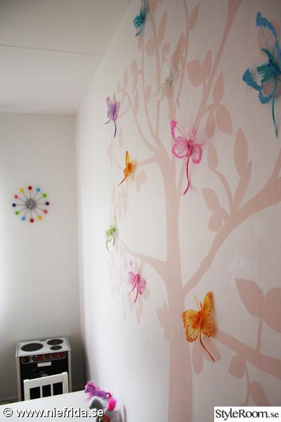 väggträd,rosa,fjärilar,åhlens väggklocka
