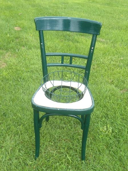 stol,grön,stålkorg