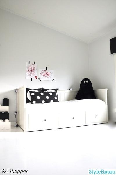 flickrum,vitt,svart/vitt,säng,sänglåda