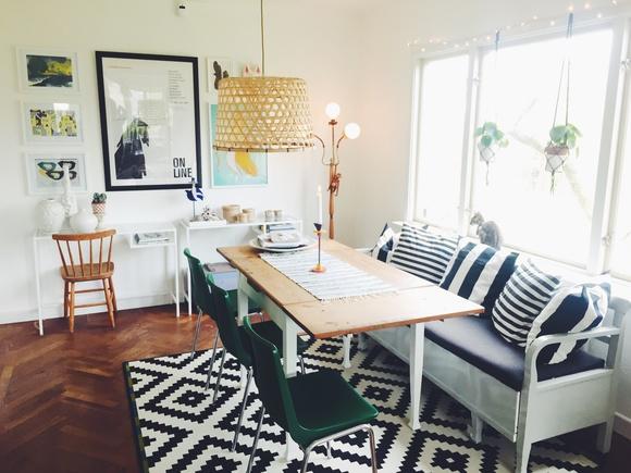 vardagsrum,kökssoffa,matplats,matbord,tavelvägg