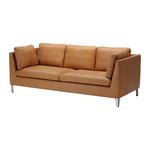 Brun soffa och svarta fåtöljer