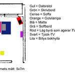 Hjälp oss förvandla vårt vardagsrum till kontor/Tv-rum! (möblering/planering)