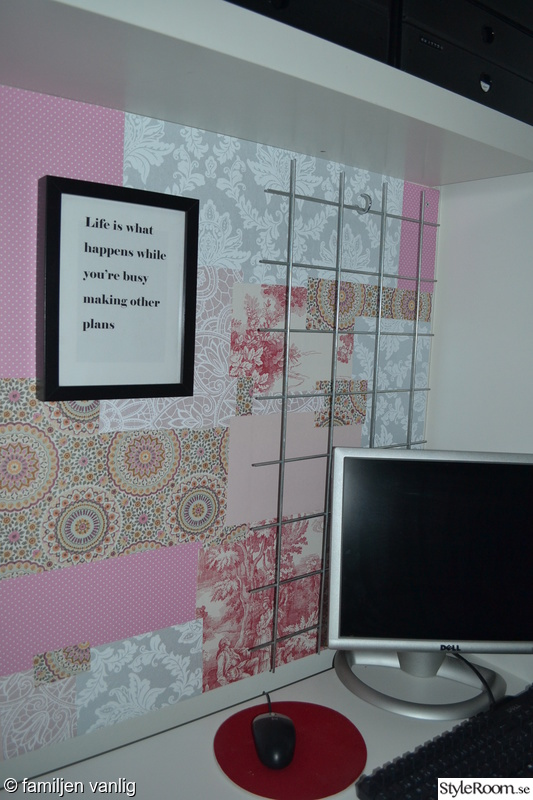 hall,diy,armeringsnät,tapetcollage,do-it-yourself