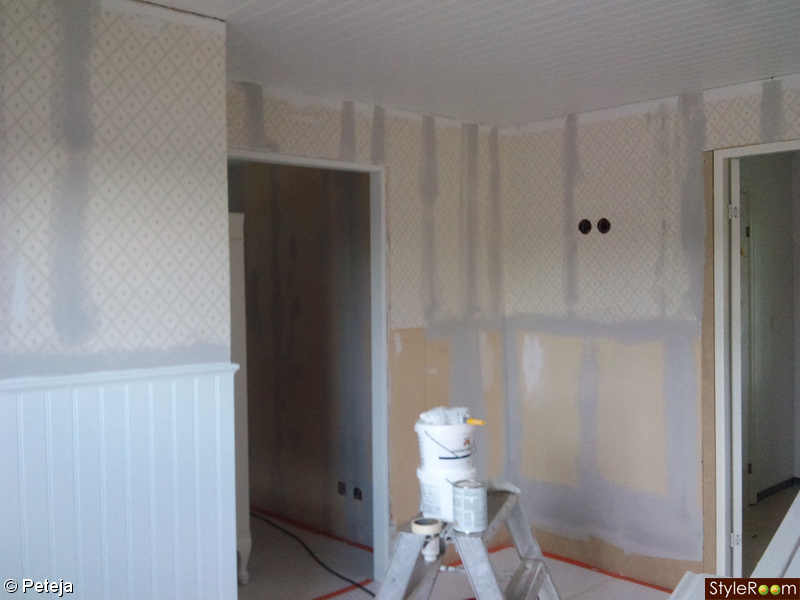 panel,renovering,lantligt,hall,vitt