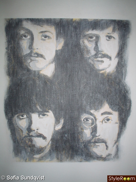 tavla,porträtt,the beatles,akryl
