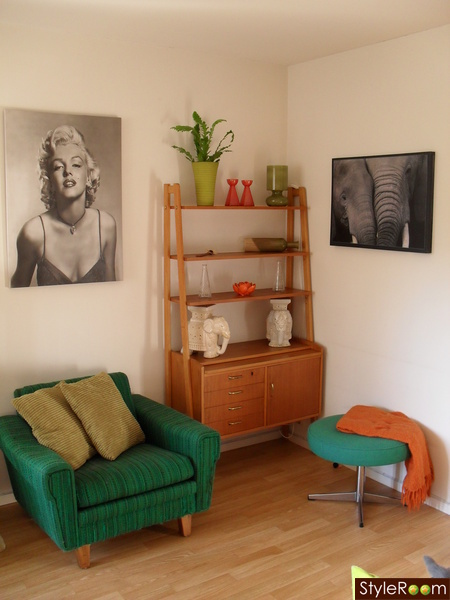 grönt,retro,teak,orange,marilyn monroe