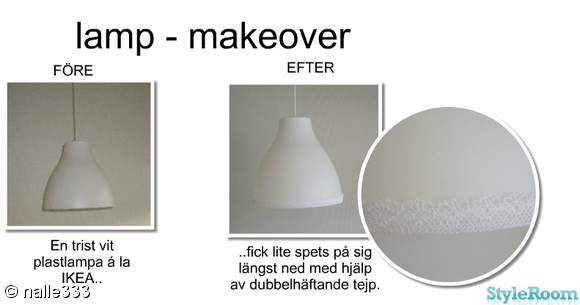 lampa,spets,shabby chic,pyssel