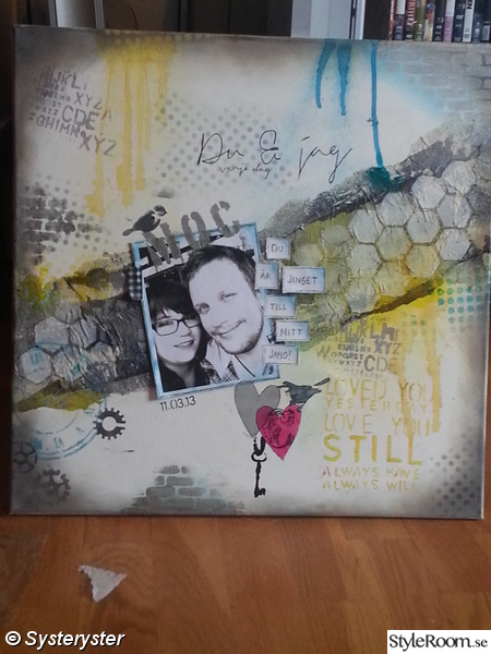 scrapbooking,mixed media,grått,gult,turkost